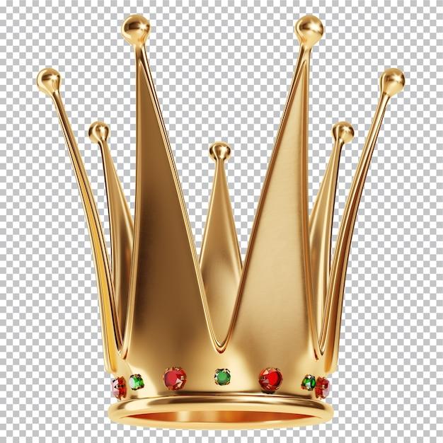 Goldene krone der königinnen mit juwelen isolierte 3d-darstellung Premium PSD
