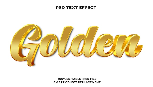 Goldene texteffektstilvorlage Premium PSD