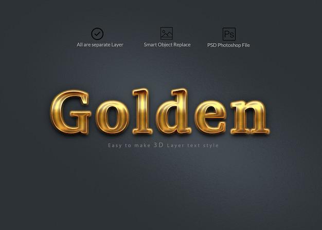Goldener 3d photoshop-ebenen-texteffekt Premium PSD