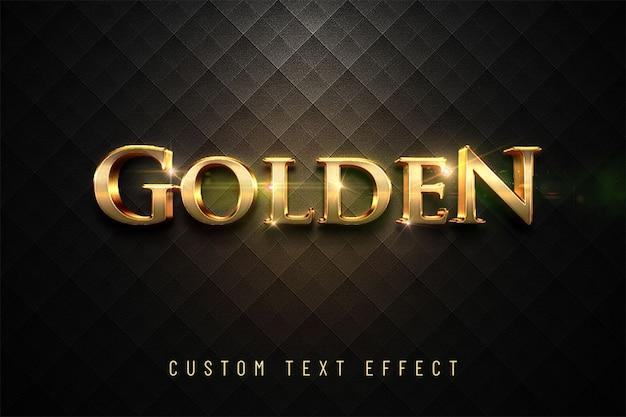 Goldener glänzender effekt des textes 3d Premium PSD