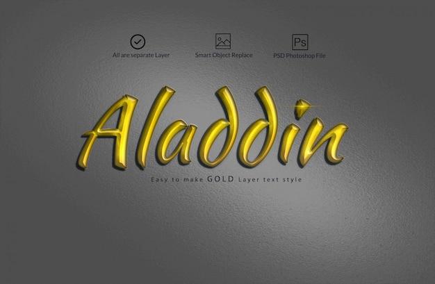 Goldener text-effekt Premium PSD