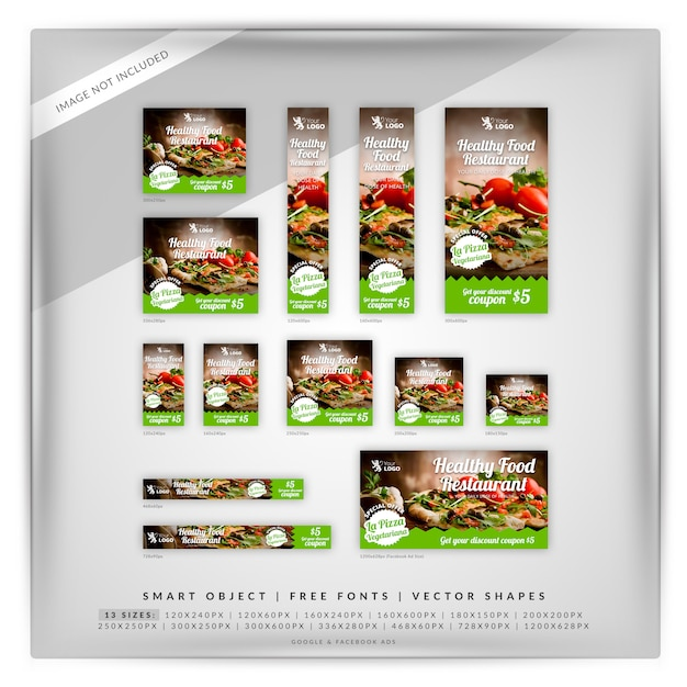 Google banner-set für speisen und restaurants Premium PSD