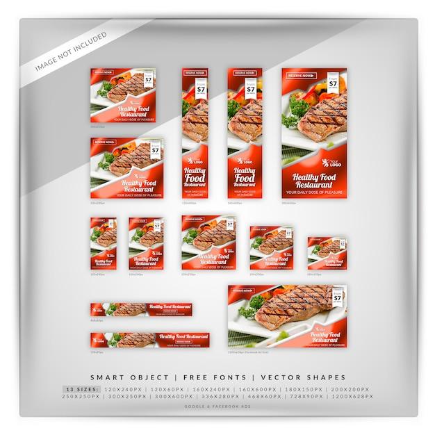 Google & facebook-anzeigen für lebensmittel und restaurants Premium PSD