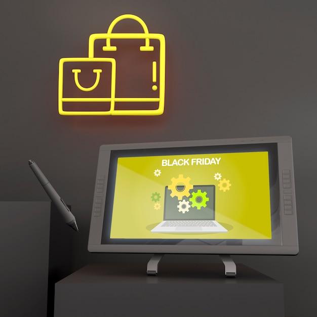Grafisches tablettenmodell mit stift und gelben neonlichtern Kostenlosen PSD