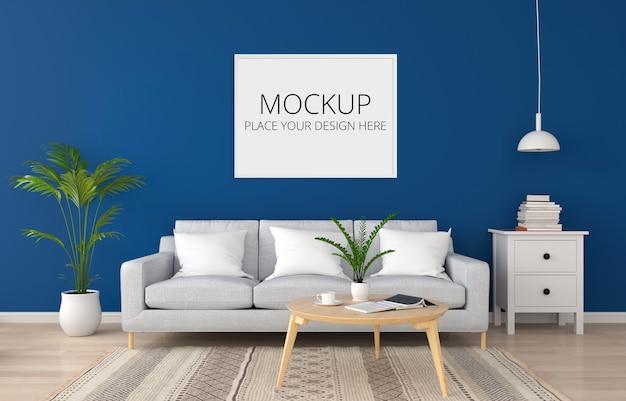 Graues sofa im klassischen blauen wohnzimmer für modell Premium PSD