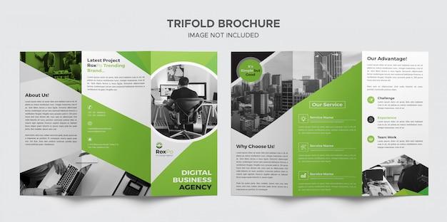 Green business trifold-broschüre Premium PSD