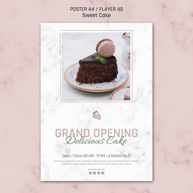 Große eröffnung köstliche kuchenplakatschablone Kostenlosen PSD