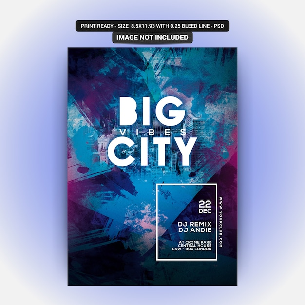 Großer city club party flyer Premium PSD