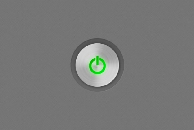 Grün herunterfahren symbol mit metall textur Kostenlosen PSD