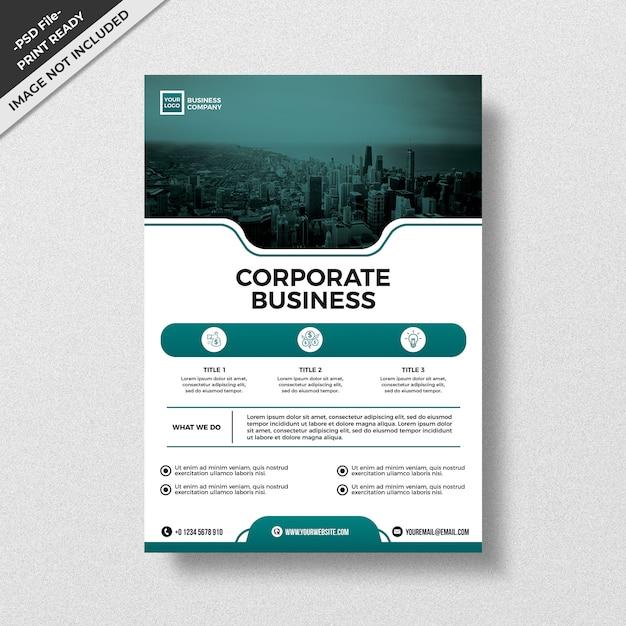 Grüne moderne artdesignunternehmensgeschäftsfliegerschablone Premium PSD