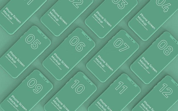 Grüne telefonbildschirme mockup-draufsicht Premium PSD