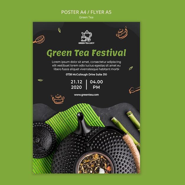 Grüner tee-anzeigenplakatschablone Kostenlosen PSD