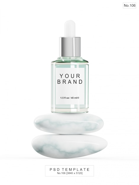 Grünes serum mit marmorstein. 3d render Premium PSD