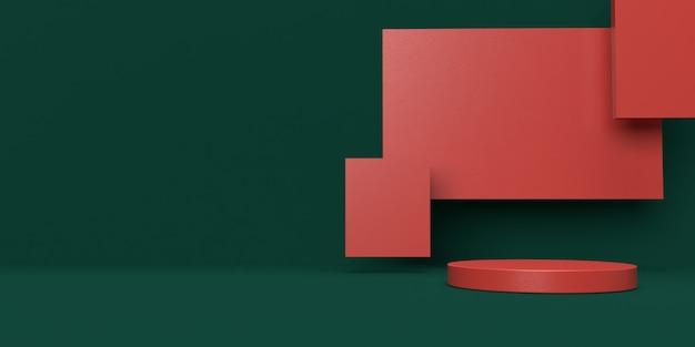 Grünes und rotes 3d-rendering des podiums der abstrakten szenengeometrieform für produktanzeige Premium PSD