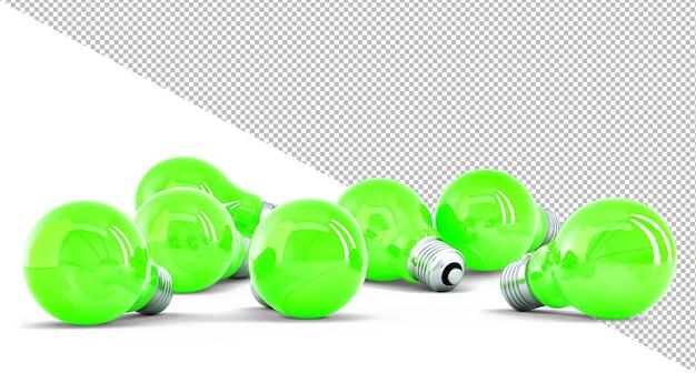 Gruppe von grünen glühbirnen Premium PSD