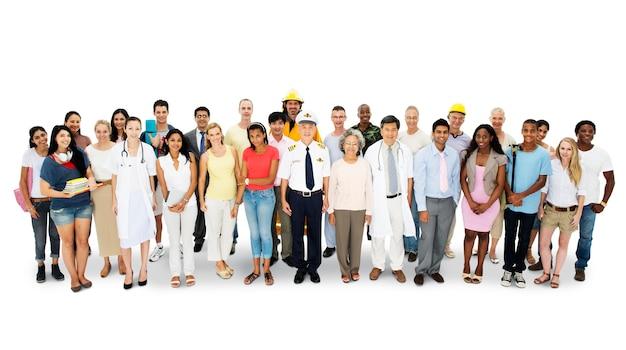 Gruppe von verschiedenen menschen Premium PSD
