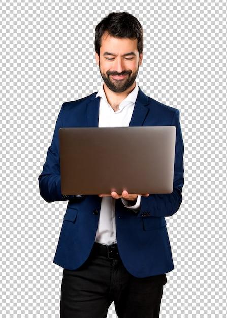 Gut aussehender mann mit laptop Premium PSD