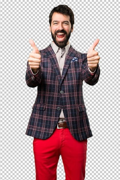 Gut gekleideter mann mit dem daumen oben Premium PSD