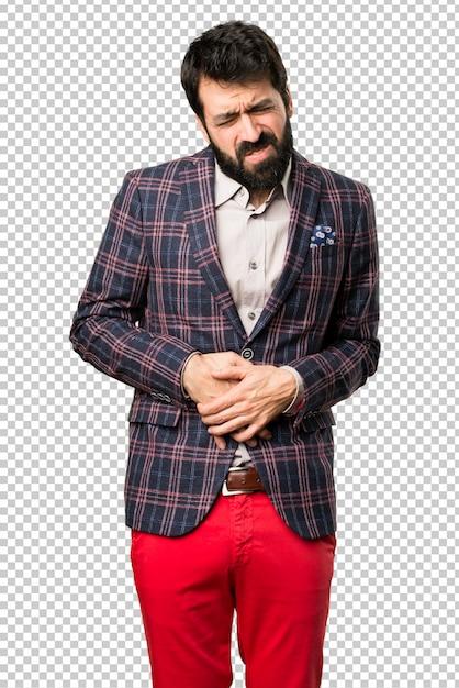 Gut gekleideter mann mit magenschmerzen Premium PSD