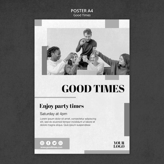 Gute zeiten poster vorlage Premium PSD