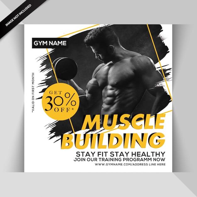 Gym fitness instagram post oder quadrat flyer vorlage Premium PSD