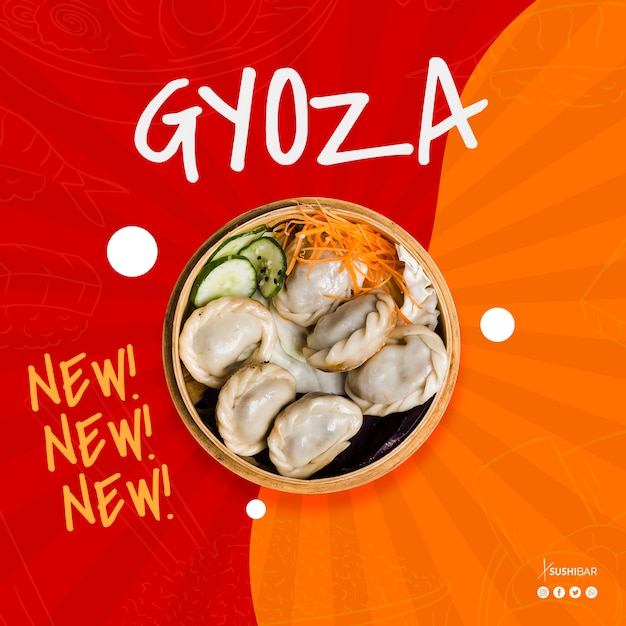 Gyoza oder jiaozi neues rezept für asiatisches orientalisches japanisches restaurant oder sushibar Kostenlosen PSD