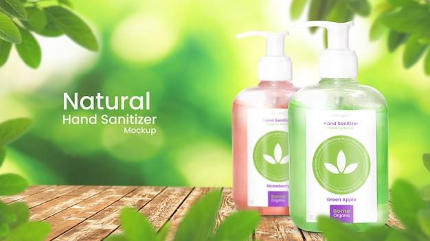 Händedesinfektionsmittelmodell von zwei alkoholgelpumpflasche auf organischem belaubtem hintergrund Premium PSD