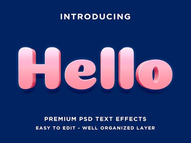 Hallo - 3d-text-effekt psd-vorlage Premium PSD