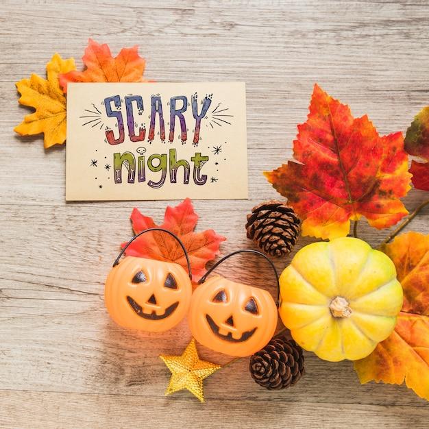 Halloween-cover-modell mit blättern Kostenlosen PSD