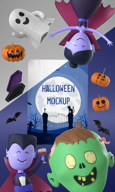 Halloween-kartenmodell mit gruseligen charakteren Kostenlosen PSD