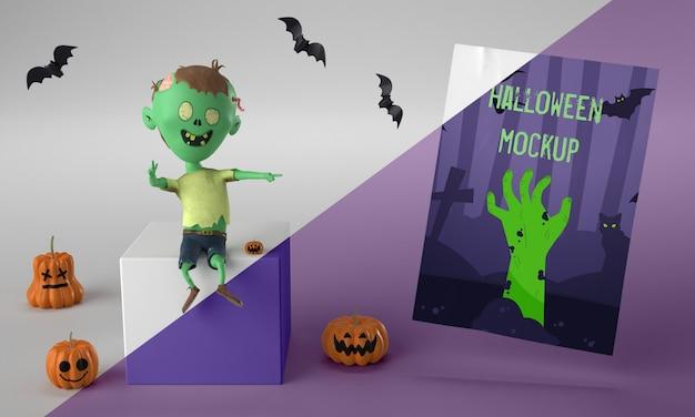 Halloween-kartenmodell neben smiley-zombie Kostenlosen PSD