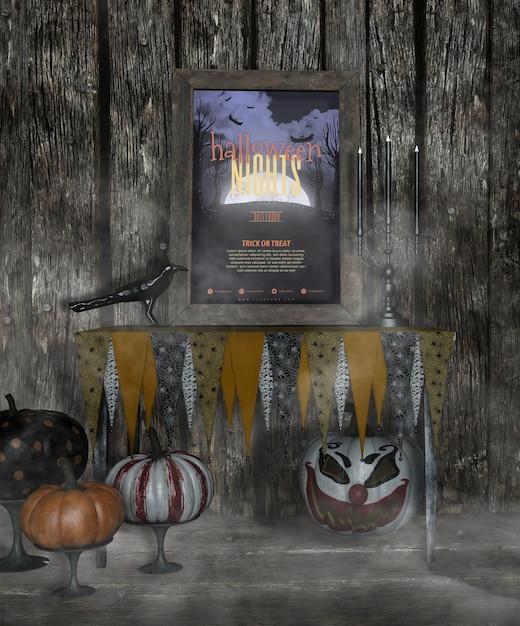 Halloween-nachtfeld im nebel mit furchtsamen kürbisen Kostenlosen PSD