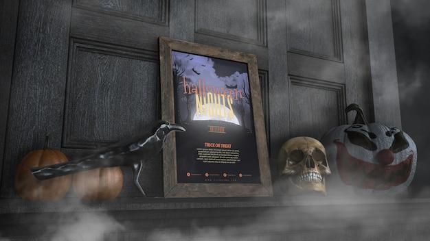 Halloween-nachtrahmen der niedrigen ansicht mit mit dem schädel und kürbis Kostenlosen PSD