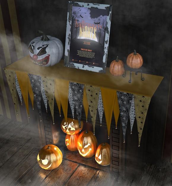 Halloween-nachtrahmen mit geschnitzten kürbisen Kostenlosen PSD