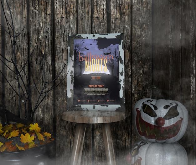 Halloween-nachtrahmenmodell auf einem stuhl und einem nebel Kostenlosen PSD
