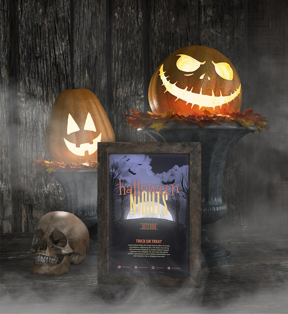 Halloween-nachtrahmenmodell mit geschnitztem kürbis Kostenlosen PSD