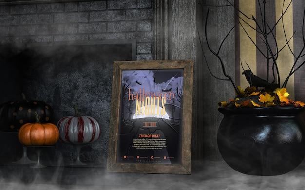 Halloween-nachtrahmenmodell mit schwarzem großem kessel Kostenlosen PSD