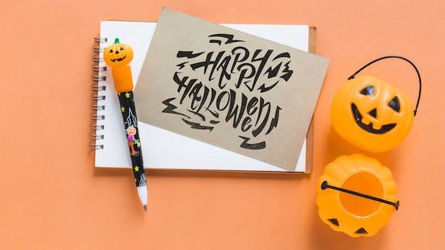 Halloween-notebook und kartenmodell Kostenlosen PSD