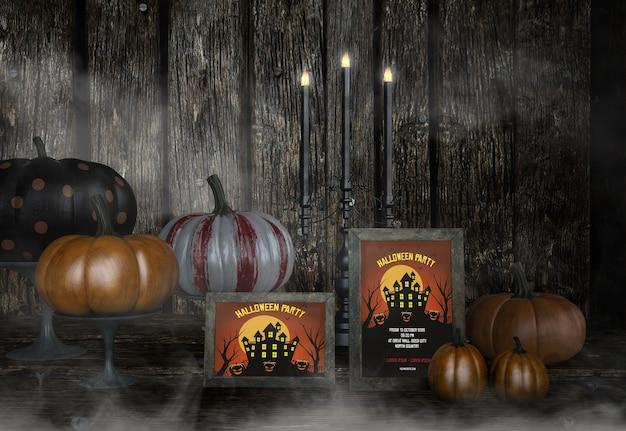 Halloween-party am spukhausmodell und an den kürbisen Kostenlosen PSD