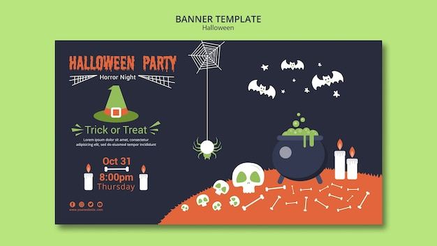 Halloween party banner vorlage mit knochen und schmelztiegel Kostenlosen PSD