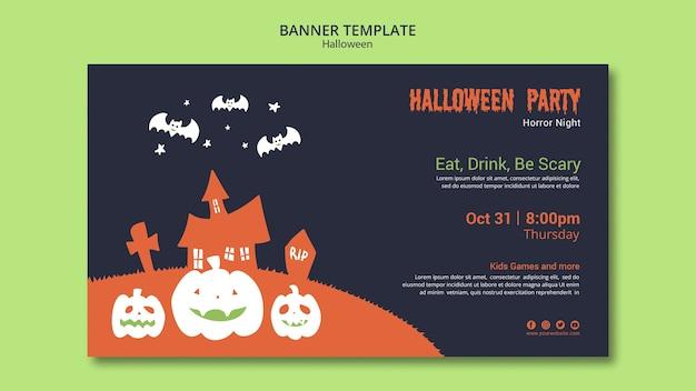Halloween party banner vorlage mit kürbis und fledermäuse Kostenlosen PSD