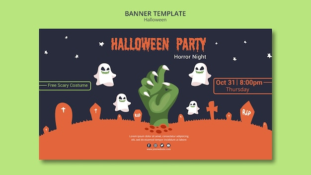 Halloween-partyfahnenschablone mit den zombiehänden Kostenlosen PSD