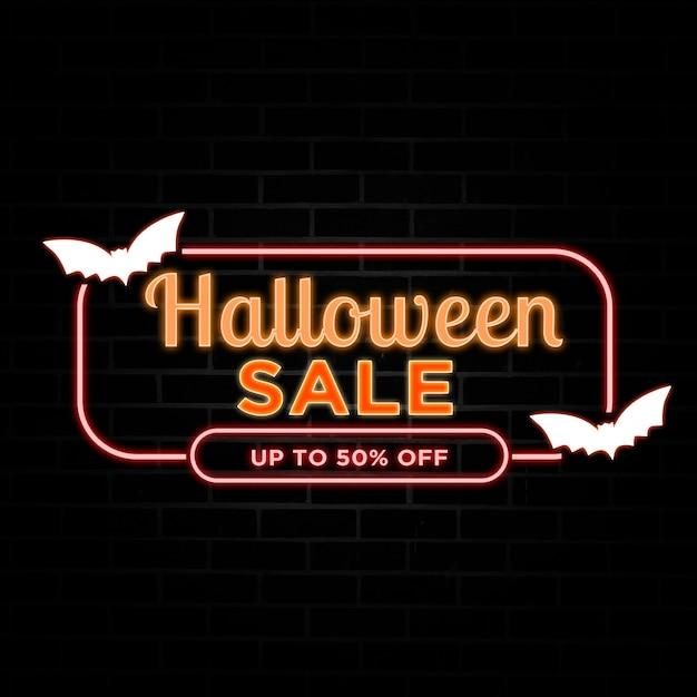 Halloween sale rabatt mit neon style. Premium PSD