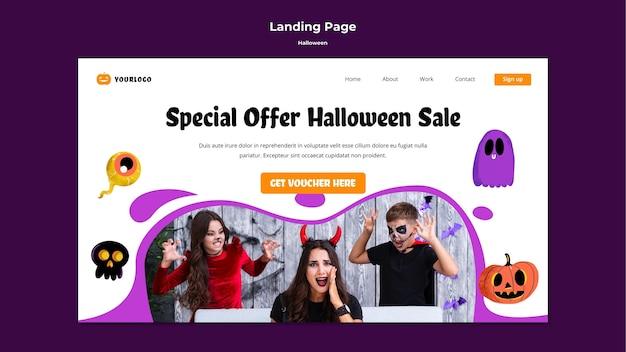 Halloween verkauf landing page design Kostenlosen PSD