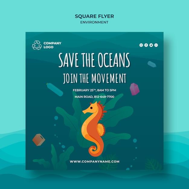 Halten sie den ozean sauber quadratische flyer vorlage mit seepferdchen Kostenlosen PSD