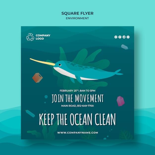 Halten sie die ozeanische quadratische flyer-vorlage mit narwal sauber Kostenlosen PSD