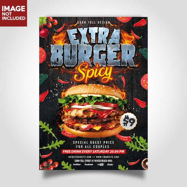 Hamburger extra spicy restaurant flyer template Premium PSD