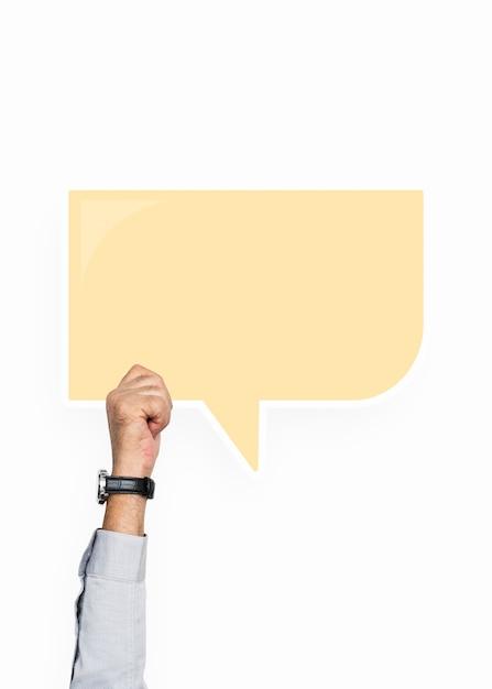 Hand, die eine spracheblasengraphik anhält Premium PSD