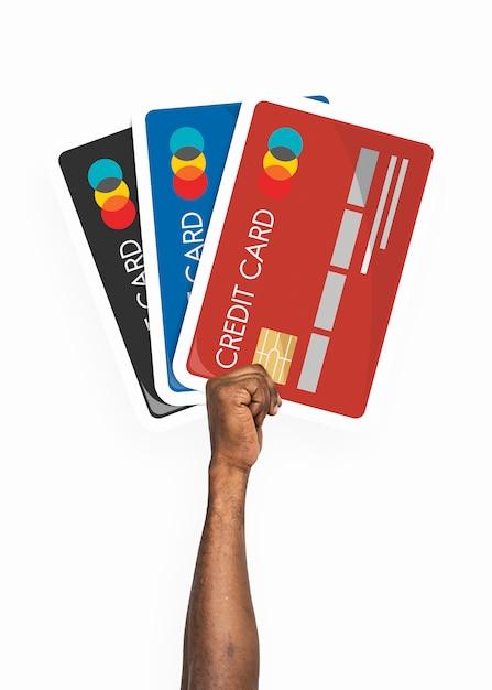 Hand, die kreditkarte clipart hält Premium PSD