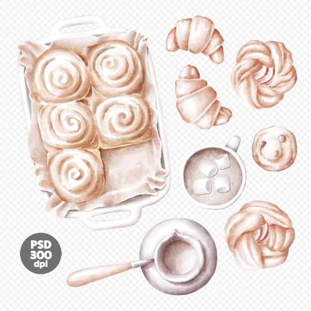 Hand gezeichnete illustration der frischen bäckerei, kaffee, brötchen, croissants, apfelkuchen-clipart Premium PSD